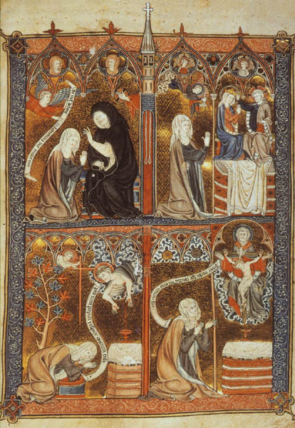 "Figure I: ""A nun experiences the three stages of mystical union."" c. 1300. Illumination on parchment (26.6 x 18.4 cm). British Library, London. Yates Thompson MS 11, fol. 29."